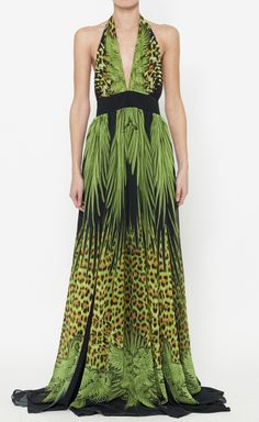 Just Cavalli Black, Lime Green And Multicolor Dress | VAUNTE