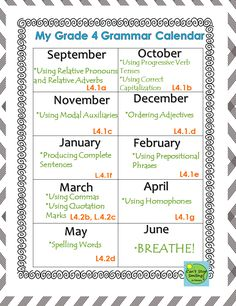 Grammar Grade 4 Common Core Aligned- All you need including calendar and printables with standards plugged in to each activity $6