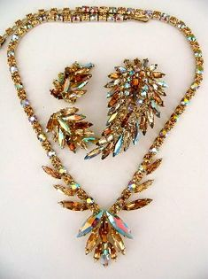 Sherman topaz and ab topaz parure  necklace brooch by glitzythings, $495.00