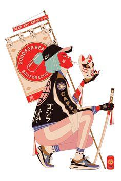 """xmau: """" Kitsune Girl- Prints on: xmau.bigcartel.com Thx for support…"""