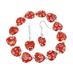 Sterling Silver Red Murano Glass Heart Millefiori Flower Stretch Bracelet & Earrings Set SilverSpeck. $15.99. Save 68% Off!