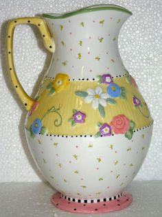Mary Engelbreit At Home Meadow Large Pitcher Flowers/Lady Bug ME Ink