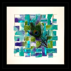 """Contemporary Art  Watercolor Painting  by AbundantArtsVintage """"Feather in the Wind"""""""