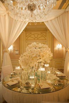 Ivory + gold wedding reception