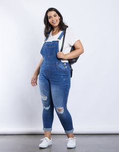 Plus Size Stella Denim Overalls - Plus Size Jumpsuits - How to Style Denim Overalls - Plus Size Fashion – Blue Jean Overalls, Denim Overalls, Blue Denim Jeans, Dungarees, Shorts, Jean Overall Outfits, Jeans Overall, Overalls Plus Size, Plus Size Romper