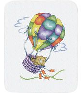 Tobin Balloon Cat Quilt Stamped Cross Stitch Kit | Cute for a kid's room/nursery.