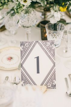 Art Deco | Table Numbers | Photography: Scott Andrew Studio |   See the '20s inspired wedding on Style Me Pretty: http://www.stylemepretty.com/2013/12/27/1920s-inspired-healdsburg-wedding/