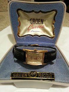 Gruen men's Curvex in original box.  Movement designed by Emile Frey.