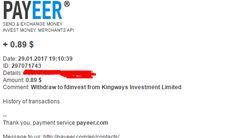 Preuve de paiement kingways de Fdinvestdiffusion