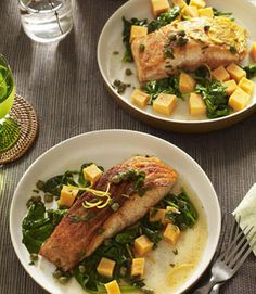 Simple Grilled Salmon and Sweet Potatoes become a in minutes when topped with lemon-caper sauce. Simple salmon and sweet potatoes become a gourmet meal in minutes, when topped with an easy, tangy lemon-caper sauce and spiked with a hit of spicy cayenne. Delicious Salmon Recipes, Seared Salmon Recipes, Easy Salmon Recipes, Potato Recipes, Fish Recipes, Seafood Recipes, Gourmet Recipes, Healthy Recipes, Gourmet Meals