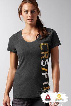 Graphic Tee + Crossfit + Reebok Mostra toda a tua raça Reebok, Crossfit Shirts, Workout Attire, Shirt Ideas, Typography Design, Outfits, Fitness, Sports, Women