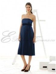 Satin Strapless Ruched Empire Waist Tea-length maternity Dress