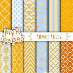 "Digital Paper: "" Sunny Skies"" Orange and Light Blue with chevron, polka dots, stripes, damask, quatrefoil, Stars,hearts"
