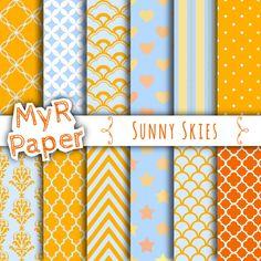 "Digital Paper: "" Sunny Skies"" Orange and Light Blue with chevron, polka dots, stripes, damask, quatrefoil, Stars,hearts"