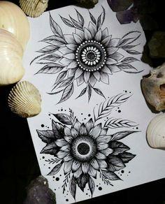 Sunflower tattoos, cute tattoos, small tattoos, beautiful tattoos, new tatt Sunflower Mandala Tattoo, Sunflower Tattoo Sleeve, Sunflower Tattoo Shoulder, Sunflower Tattoo Small, Sunflower Tattoos, Sunflower Tattoo Design, White Sunflower, Mandala Flower Tattoos, Mandala Tattoo Design