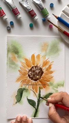 Watercolor Flowers Tutorial, Watercolor Sunflower, Floral Watercolor, Sunflower Drawing, Sunflower Art, Watercolor Landscape Paintings, Floral Drawing, Watercolor Art Lessons, Watercolor Paintings For Beginners