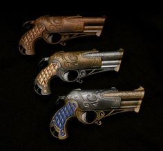 Nerf Rebelle Dauntless Blasters - given the full Steampunk finish.  Loving the blue grip one.