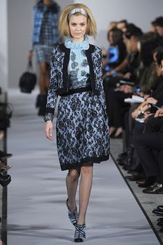 Oscar de la Renta Fall 2012 RTW- I think the black lace backed in blue and edged in velvet is interesting