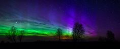 Aurora borealis panorama in Estonia 2015