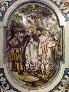 St. Dominic is led by a heretic through thorns on his journey, yet still manages to be a joyful friar and sing, thus converting the heretic. Peter Seila's house, Toulouse, France