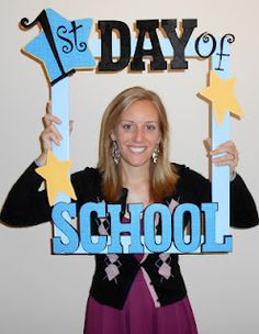 "First Grade School Box: Happy First Day of School photo ""booth"" for students! Use velcro for 1st so you can change it to 100th or last too!"