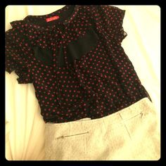 Polka Dot top❣ Stretchy waist. Asian size XL= American size M-L shipping available on Ⓜ️ercari. Drop me a comment and I'll lead you there  Maple Tops Blouses