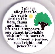 I Pledge Allegiance to the Earth pin - from CelestialAchelois on Etsy $1.57  #eco #environment #sustainability #nature