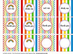 Free rainbow party printables to print and use at your next rainbow party. For personal use only. Thomas The Train Birthday Party, My Little Pony Birthday Party, Rainbow Birthday Party, Rainbow Theme, 2nd Birthday Parties, Pig Birthday, Pony Party, Birthday Ideas, Rainbow Parties