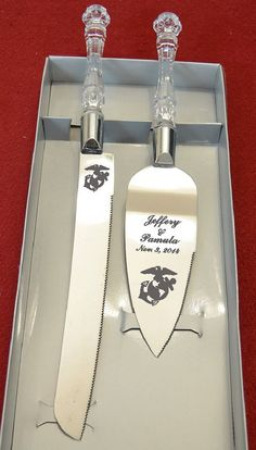 Marine Wedding Cake Knife and Server with Names by AaronEtches