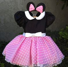 Pink Minnie Mouse costume Dress set by ChasenLondon on Etsy, $65.00