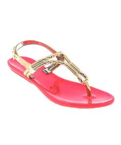 Take a look at this Coral & Gold Cords T-Strap Sandal by Dizzy Shoes on #zulily today! $16.99, regular 30.00