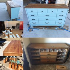 Repurposed my Daddy's antique childhood dresser using Rustoleum Chalked Serenity Blue. First time to refinish a piece, it turned out great. The paint is pretty forgiving, 3 coats gave me the coverage I wanted...can't wait to play with this paint some more!