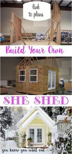 How to Build a Gorgeous She Shed, complete with link to step by step plans. Great for a home office, glorified garden shed or as an art / craft studio. Come see our photo album of building this one. FlowerPatchFarmhouse.com by roberta