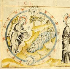 The creation of the world - Genesis - Historien Bibel, MS M.268 fol. 2r - Images from Medieval and Renaissance Manuscripts - The Morgan Library & Museum