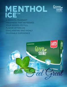 Menthol Ice: Menthol Ice™ refreshes your senses with its smooth, pleasant freshness. Its full flavor offers an exhilarating and highly enjoyable smoking experience. Electronic Cigarette, Feeling Great, Personal Care, Smoke, Feelings, Bottle, Green, Self, Vaping Mods