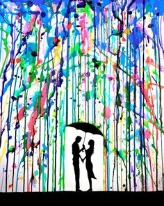 Put paint tape to cover the place to stencil, put paint filled balloons around canvas, pop with darts, let dry, use stencil to add silhouette. Love love love this!!