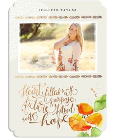 Poppy Senior Announcement 5x7 Cleft Luxe and Flat Card