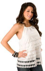 Aryeh® Ladies White Tiered with Cutouts Halter Fashion Top