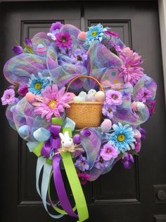 Easter Wreath, Easter Door Wreath, Deco Mesh Wreath, Easter Basket, Easter Eggs, Front Door Wreath, Silk Florals, This fun and colorful handmade
