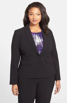 Anne Klein One-Button Blazer (Plus Size) available at #Nordstrom