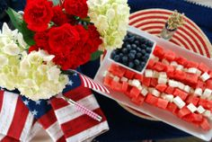 We're celebrating with a flag formation of Watermelon, Feta, and a side of Blueberries ~ A great idea for Memorial Day and of July! Summer Recipes, Holiday Recipes, Holiday Foods, Holiday Treats, Watermelon And Feta, 4th Of July Desserts, 4th Of July Celebration, Independence Day, Fourth Of July