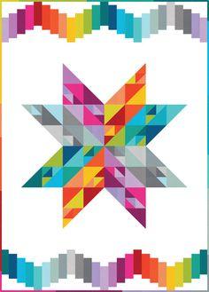 Robert Kaufman Fabrics Kona Cotton Summer Star Quilt Kit 66 by 86 Star Quilt Blocks, Star Quilt Patterns, Star Quilts, Canvas Patterns, Sewing Patterns, Quilting Tutorials, Quilting Projects, Quilting Designs, Sewing Projects