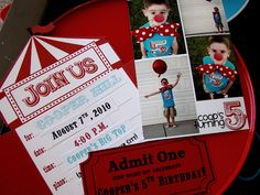 Love the invite and love the clown noses (clown noses would be fun!!) for Dumbo themed party