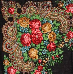 Floral Wool Shawl Russian Folk Scarf In by PoppyVintageCorner, $49.95