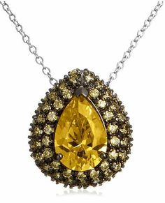 """Sterling Silver Yellow Simulated Diamond Pendant, 18"""" Amazon Curated Collection. $34.42. Made in China. The natural properties and composition of mined gemstones define the unique beauty of each piece. The image may show slight differences to the actual stone in color and texture."""