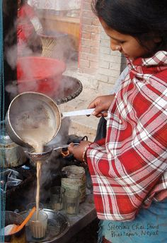 A chai standin Nepal | http://qz.com/346582/no-starbucks-chai-tea-latte-is-not-real-chai/