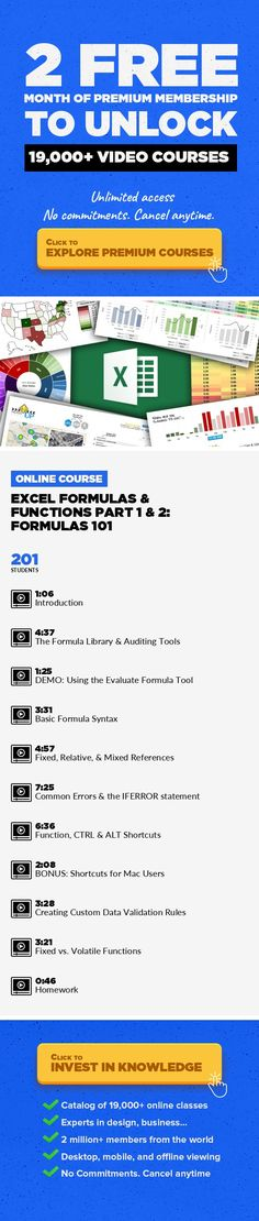 Excel Formulas & Functions Part 1 & 2: Formulas 101 Technology, Excel, Microsoft Excel, Analytics, Microsoft, Data Analysis, Business Skills, Data Science, Business Analytics #onlinecourses #ClassCourses #CoursesWebsite   This course is part 1 & 2 of a 9-part series on Excel Formulas & Functions: from basic to advanced. In Excel Formulas 101, we'll explore Excel's formula library and auditing ...