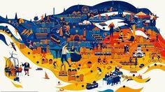 Mapa do mundo segundo ilustradores e storytellers.