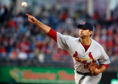 starting pitcher Adam Wainwright throws during the first inning of a baseball game against the Washington Nationals. Wainwright pitched a complete game shutout. Cards won 8-0.  4-17-14