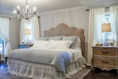 """Check out this pretty and soft, romantic master bedroom on HGTV""""s Fixer Upper."""
